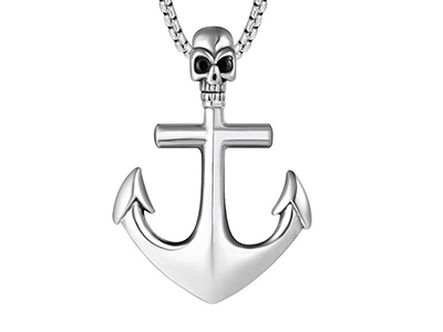SSP0047R Skull Anchor Pirates Stainless Steel Necklace