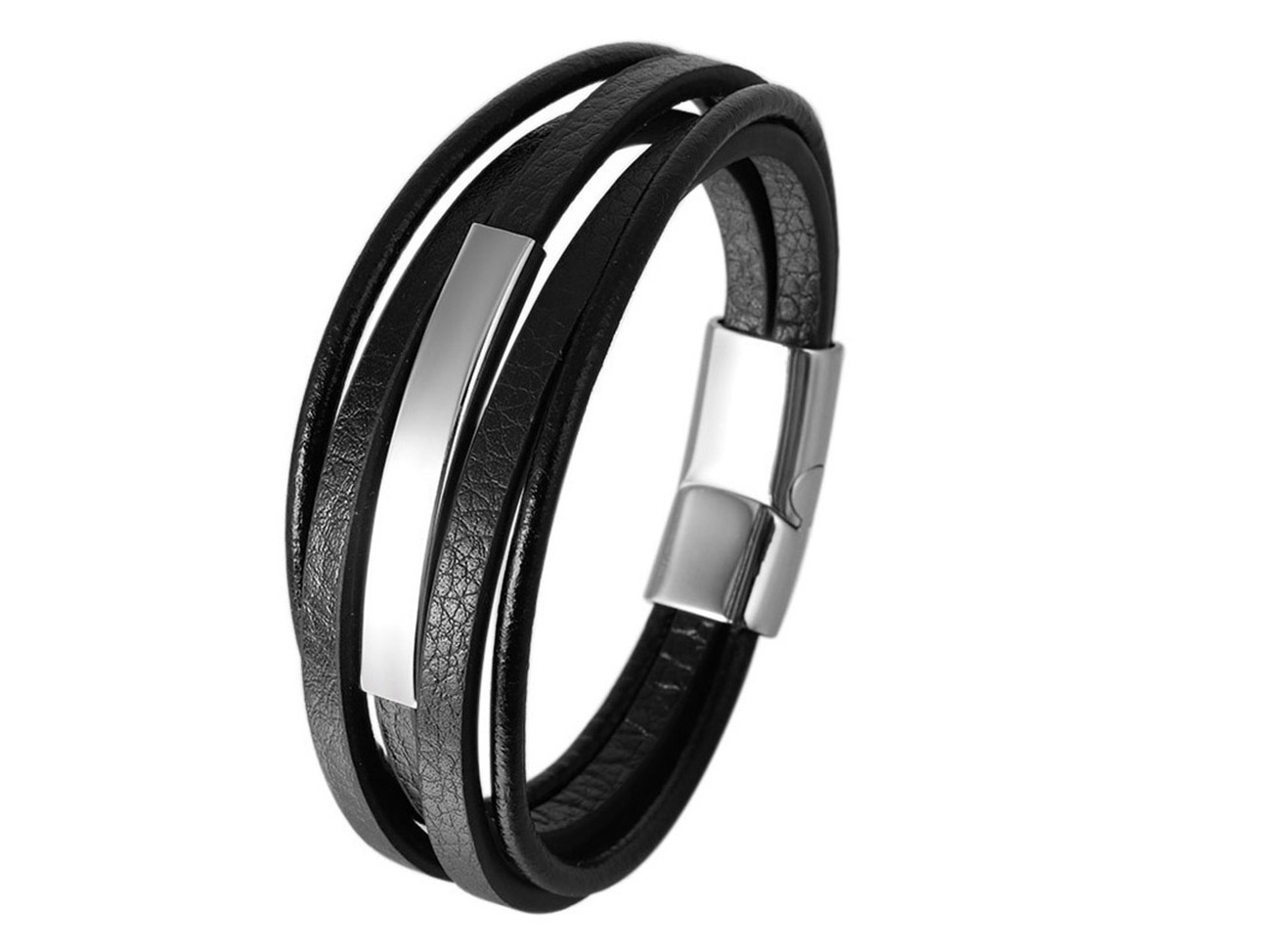 SSB0141R Multi Layer Leather Magnetic Clasp Stainless Steel