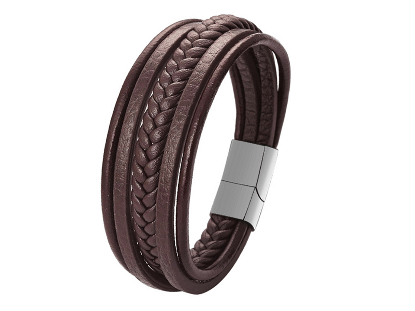 SSB0140R1 black Multi Layer Braided Leather Magnetic Clasp