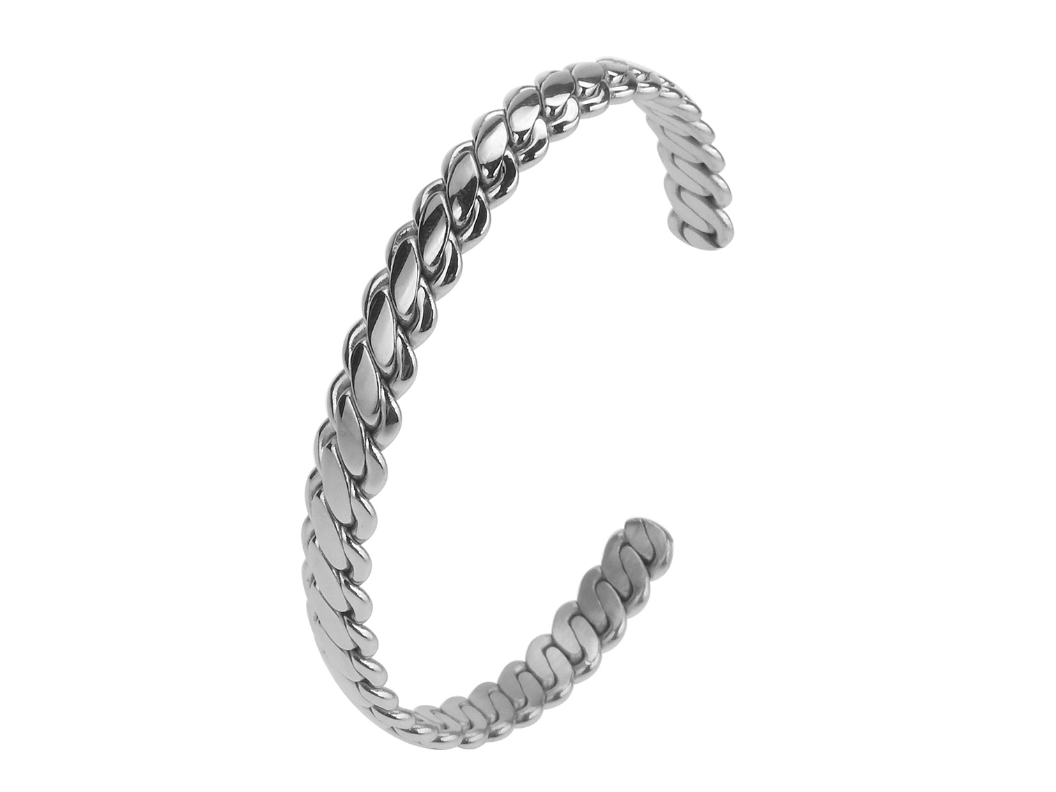 SSB0064R Woven Pattern Stainless Steel Bangle