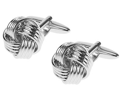 20-20R Silver Metal Knot Cufflinks