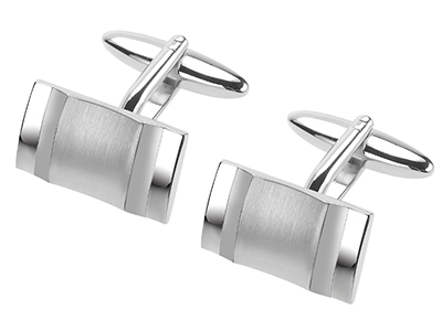 671-11R2 Cool Brush Silver and Shiny Edge Cufflinks