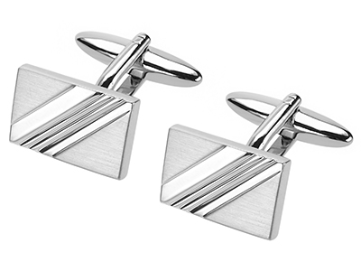 637-22R2 Brush Silver with Concave Stripes Cufflinks