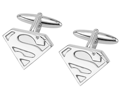 307-24R Silver Superman Logo Cuffinks