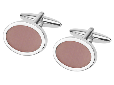 247-14R C12 Pink Catseye Oval Cufflinks