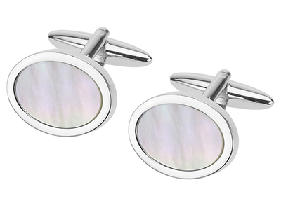 247-14R Mother of Pearl Oval Cufflinks